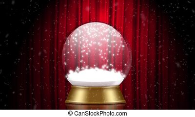 snowglobe animation on a red stage