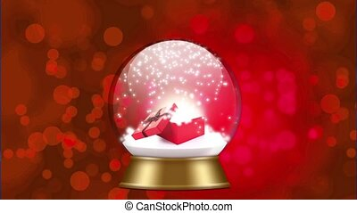 snowglobe animation on a red