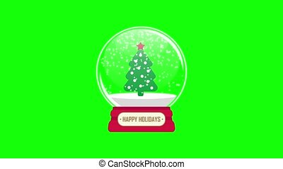 snowglobe animation with falling snow on a green background loop
