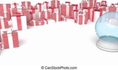 snowglobe, képben látható, egy, ajándékoz, háttér
