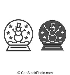 Snowglobe line and glyph icon. Cristmas decoration vector illustration isolated on white. Glass globe outline style design, designed for web and app. Eps 10.