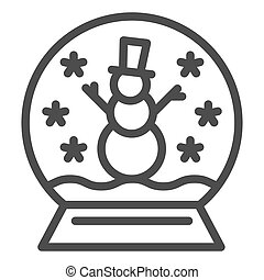 Snowglobe line icon. Cristmas decoration vector illustration isolated on white. Glass globe outline style design, designed for web and app. Eps 10.