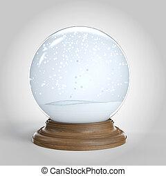 snowglobe, másol, elszigetelt, üres világűr