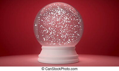 snowglobe on a red gradient background