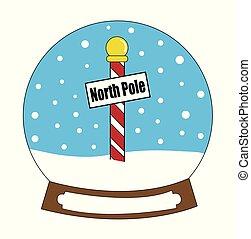 snowglobe, poste, norte