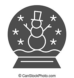 Snowglobe solid icon. Cristmas decoration vector illustration isolated on white. Glass globe glyph style design, designed for web and app. Eps 10.