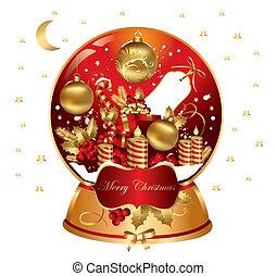 snowglobe, vektor, karácsony