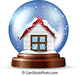 Snowglobe with a lonely house