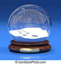 Snowglobe with footprints - Very high resolution 3d...
