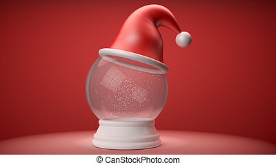 snowglobe with red hat on white background