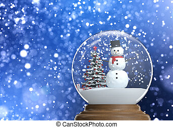 snowglobe with snowman and christmas tree inside on a blue snowy defocused background copy space and clipping path