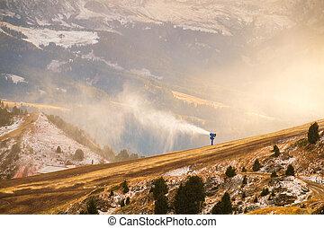 Snowgun in the dolomites alps near Seceda peak, Dolomiti....