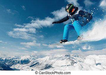 snowhill, snowboard, saltar, snowboarder