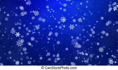 Snowing Abstract Blue sharp and blurred particles swarming ...