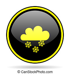 snowing black and yellow glossy internet icon