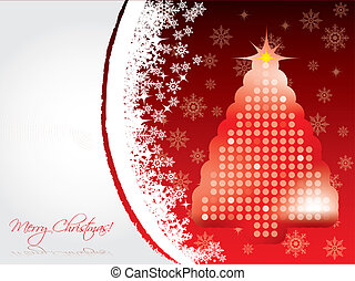 Snowing christmas card with dotted tree