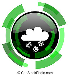 snowing icon, green modern design isolated button, web and mobile app design illustration