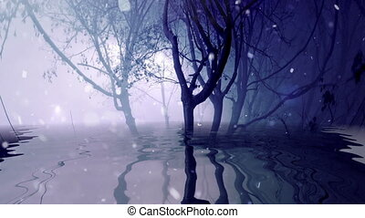 Snowing in foggy trees reflected in water
