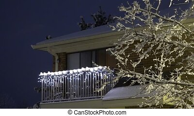 Snowing in Night, Snow Fall in Christmas, Winter View y
