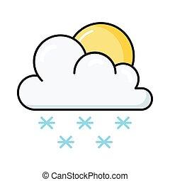 snowing line flat icon