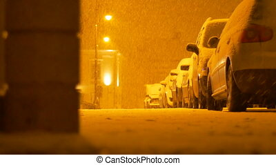 Snowing Night Street