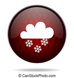 snowing red glossy web icon on white background