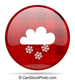 snowing red round circle glossy modern design web icon
