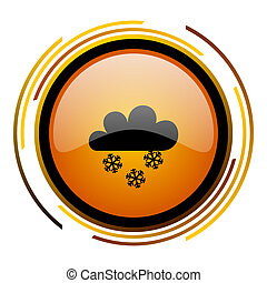 snowing round design orange glossy web icon