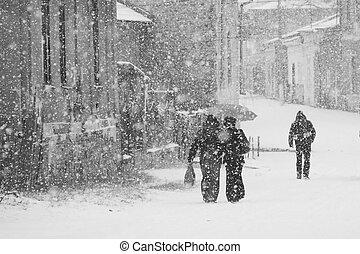 Snowing urban landscape