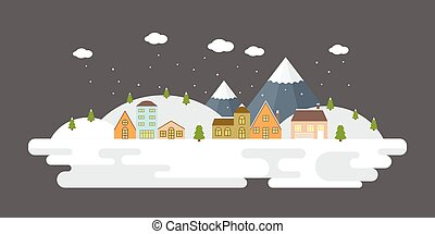 Snowing urban winter landscape in flat design