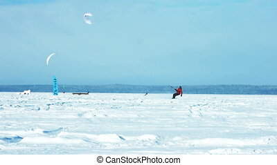 Snowkiting jumping slow motion 100 fps video