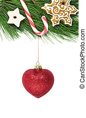 snowlake, esprit, arbre, sapin, noël, scintillement, décoré, canne, rouges