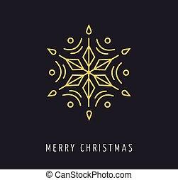 Snowlakes, geometric line art Christmas vector background