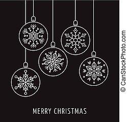 Snowlakes, geometric line art Christmas ornaments, background