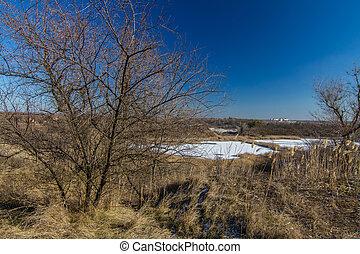 snowless, paisagem inverno, manhã