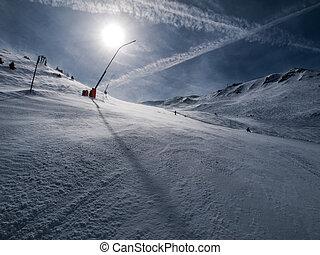 Snowmaker in the evening time (Gastein, Austria)
