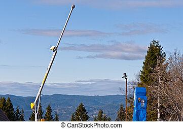 Snowmaker - Vertical snowmaker at summer Oslo Norway
