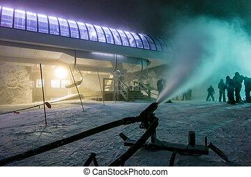 snowmaking during snow storm atski resort