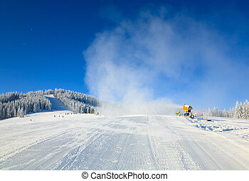 Snowmaking on a mountain ski resort