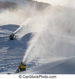 Snowmaking on a mountain slope in Park City, Utah....