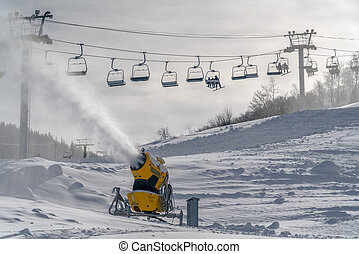 Snowmaking on a sunny winter day in Park City Utah