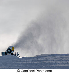 Snowmaking using snow cannons in Park City Utah