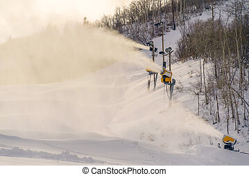 Snowmaking with snow cannons in Park City Utah