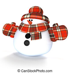Snowman 3d render isolated on white background
