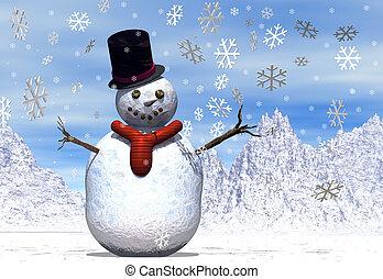 Snowman - A snowman in a winter scene with falling...