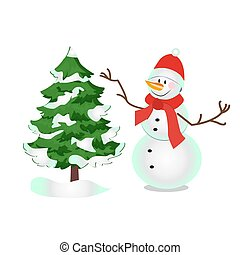 Snowman, a symbol of winter, Christmas, new year and fun holidays. drawn in the style of cartoon for decoration of cards, gifts, posters and parties, vector illustration