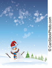 Snowman - A white snowman dressed with a colourful scarf and...