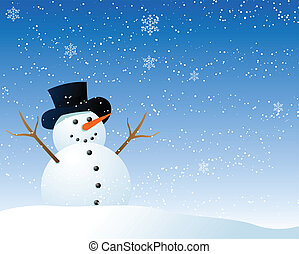 Abstract vector illustration of a cartoon style snowman being happy in the snow