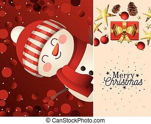 snowman, alegre, icono, letras, sombrero, navidad