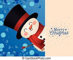 snowman, alegre, sombrero, letras, icono, cima, navidad